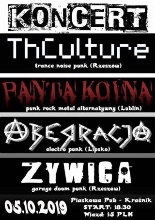 Concert THCulture, Aberracja, Panta Koina, Żywica - Kraśnik - Piaskowa Pub - 05.10.2019